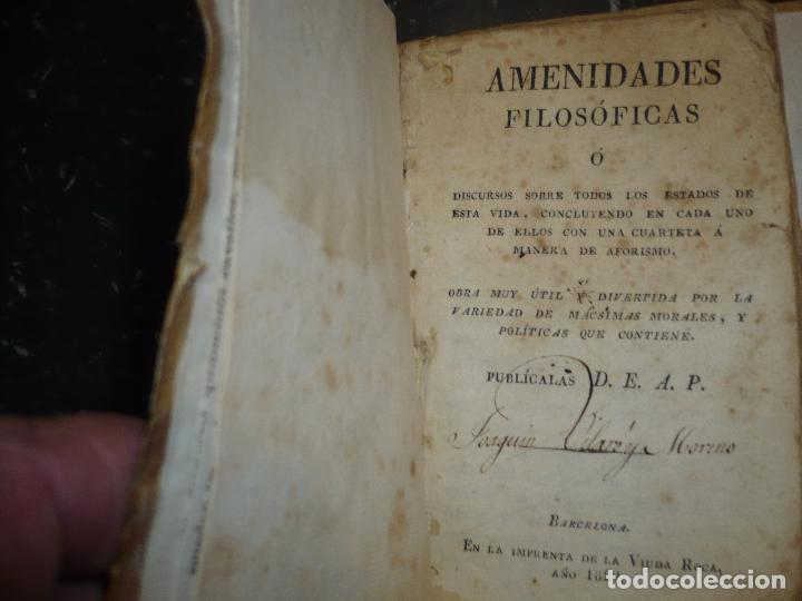 Libros antiguos: AMENIDADES FILOSOFICAS O DISCURSOS D.E.A.P. 1829 BARCELONA IMPR.VIUDA ROCA - Foto 2 - 83493020