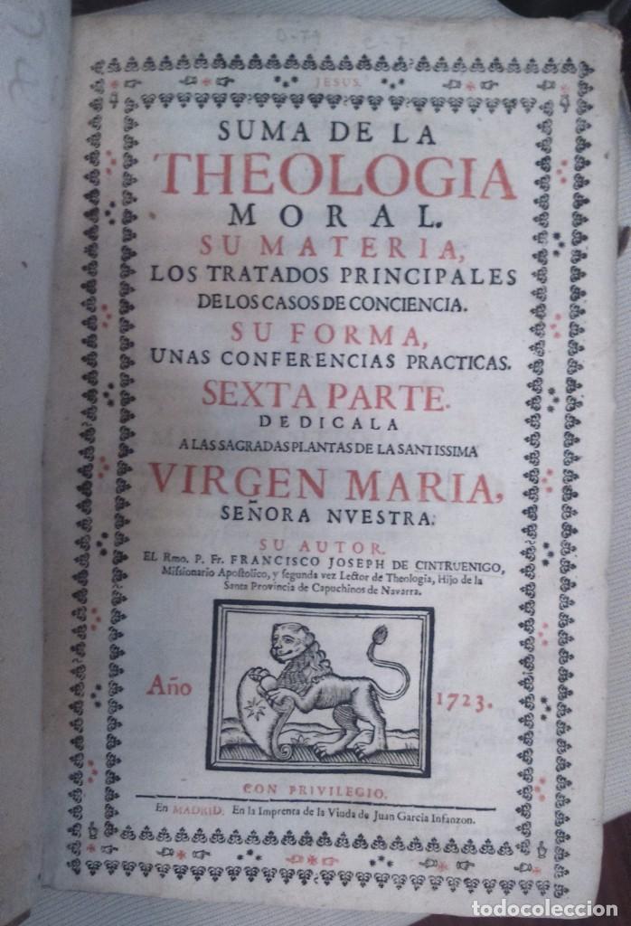 Libros antiguos: Suma de la Theologia moral cuarta parte Francisco Joseph Cintruenigo año 1723 Corella - Foto 3 - 84538204