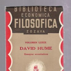 Libros antiguos: BIBLIOTECA ECONOMICA FILOSOFICA ZOZAYA. VOLUMEN LXXIX. DAVID HUME. ENSAYOS ECONOMICOS. 1928. Lote 84579180