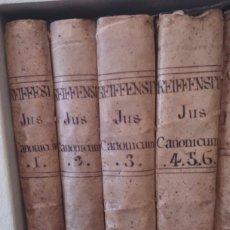 Libros antiguos: JUS CANONICUM ANACLETO REIFFENSTUEL LOTE 6 LIBROS EN 4 VOLÚMENES. AÑOS 1755 Y 1760. Lote 86679388