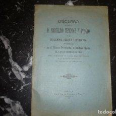 Libros antiguos: DISCURSO DE MARCELINO MENENDEZ Y PELAYO 5 DE DICIEMBRE 1904 SEVILLA. Lote 86992748