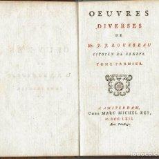 Libros antiguos: DISCOURS QUI A REMPORTE LE PRIX A L'ACADÉMIE DE DIJON, POR J. J. ROUSSEAU. AÑO 1762. (9.1). Lote 94451994