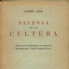 Libros antiguos: DEFENSA DE LA CULTURA, POR ANDRÉ GIDE. AÑO 1936. (10.1). Lote 98034363