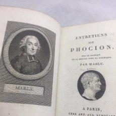Libros antiguos: LIBRO ANTIGUO FRANCÉS ENTRETIENS DE PHOCION 1804 MABLY PARÍS TAPAS DE PIEL BUEN ESTADO.. Lote 104766467