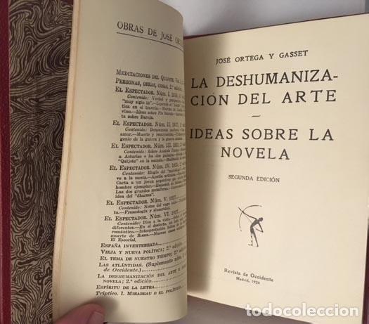 Libros antiguos: Ortega y Gasset : La deshumanización del arte. Ideas sobre la novela. (Rev Occidente, 1928). - Foto 2 - 107946927