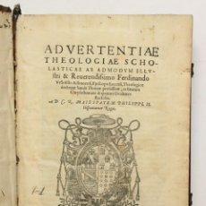 Libros antiguos: ADVERTENTIAE THEOLOGIAE SCHOLASTICAE... IN BEATUM CHRYSOSTOMUM & QUATUOR DOCTORES ECCLESIAE... - VE. Lote 109022907