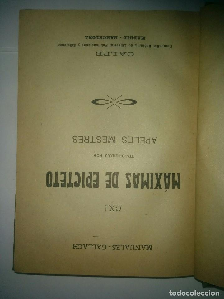 Libros antiguos: MÁXIMAS DE EPICTETO 19?? TRADUCIDAS POR APELES MESTRES MANUALES GALLACH 111 - Foto 2 - 243326205