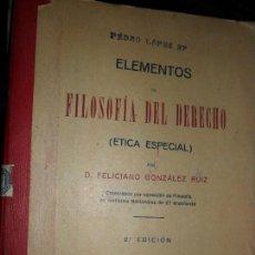 Libros antiguos: ELEMENTOS DE FILOSOFÍA DEL DERECHO (ÉTICA ESPECIAL), FELICIANO GONZÁLEZ, MÁLAGA, 1925. Lote 112156979