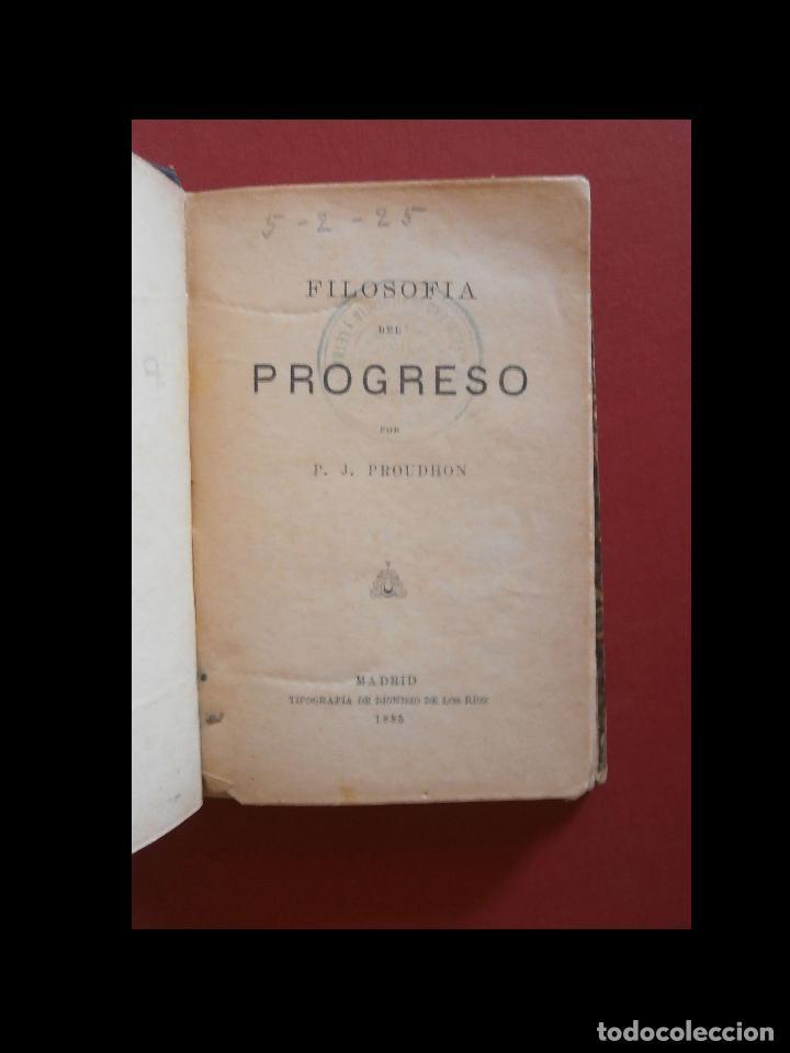 FILOSOFIA DEL PROGRESO. F.J. PROUDHON (Libros Antiguos, Raros y Curiosos - Pensamiento - Filosofía)