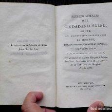 Libros antiguos: RECREOS MORALES DEL CIUDADANO HÉKEL. AÑO:1803. BUEN ESTADO. . Lote 114828471