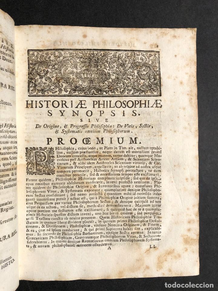 Libros antiguos: 1728 Historiae Philosophiae - historia de la filosofia - pergamino - Foto 10 - 115052011