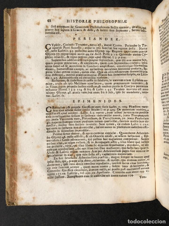 Libros antiguos: 1728 Historiae Philosophiae - historia de la filosofia - pergamino - Foto 19 - 115052011