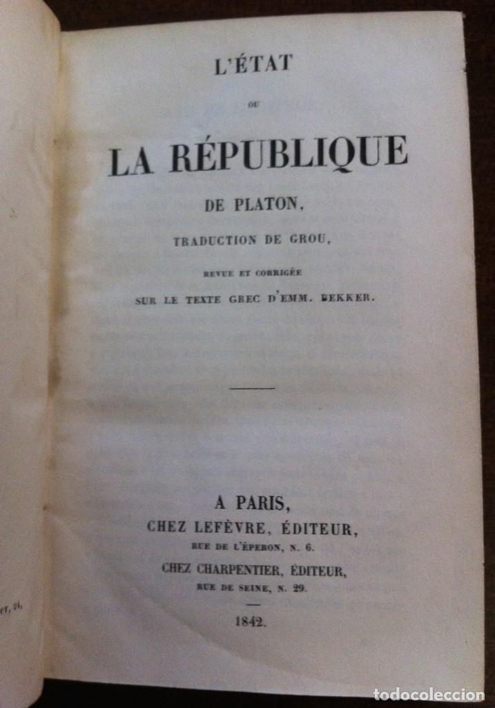 PLATON - L'ETAT OU LA RÉPUBLIQUE (LA REPÚBLICA) - PARÍS, 1842 (LIBRO ANTIGUO EN FRANCÉS) (Libros Antiguos, Raros y Curiosos - Pensamiento - Filosofía)