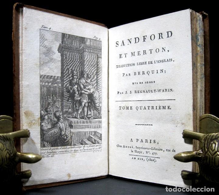 Libros antiguos: Año 1802 Leónidas Rey de Esparta Filosofía Crítica Social Sandford et Merton Grabados Rousseau - Foto 2 - 122832603