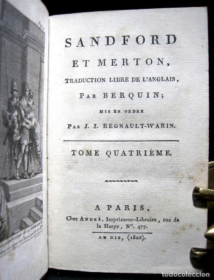 Libros antiguos: Año 1802 Leónidas Rey de Esparta Filosofía Crítica Social Sandford et Merton Grabados Rousseau - Foto 4 - 122832603