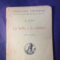 Libros antiguos: KANT, M. LO BELLO Y LO SUBLIME. MADRID-BARCELONA 1919.. Lote 163984732