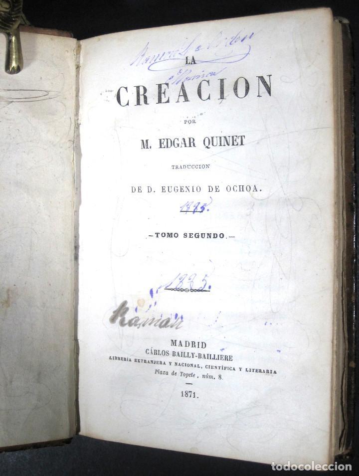 Libros antiguos: Año 1871 Antropología Filosofía Historia de la Humanidad Prehistoria Filología Quinet la Creación - Foto 3 - 123552843