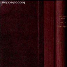 Libros antiguos: EMERSON : SIETE ENSAYOS (HENRICH, S.F.) DOS TOMOS EN UN VOLUMEN. Lote 125869795