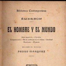 Libros antiguos: EMERSON : EL HOMBRE Y EL MUNDO (GRANADA, S.F.) . Lote 139888917
