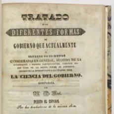 Libros antiguos: TRATADO DE LAS DIFERENTES FORMAS DE GOBIERNO QUE ACTUALMENTE SE CONOCEN EN EL MUNDO CONSIDERADAS EN. Lote 123235343