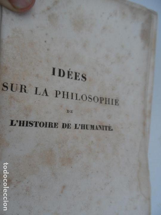 IDÉES SUR LA PHILOSOPHIE DE L'HISTORIE DE L'HUMANITE - PAR HERDER TOME PREMIER PARIS 1827. (Libros Antiguos, Raros y Curiosos - Pensamiento - Filosofía)