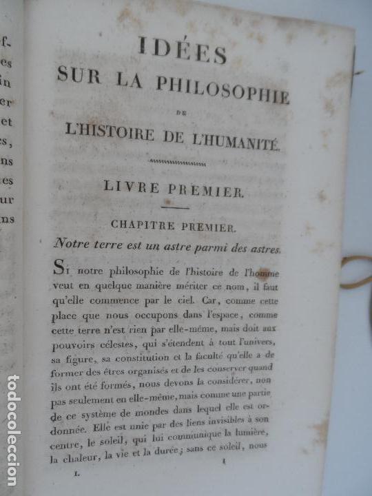 Libros antiguos: IDÉES SUR LA PHILOSOPHIE DE LHISTORIE DE LHUMANITE - PAR HERDER TOME PREMIER PARIS 1827. - Foto 3 - 129014607