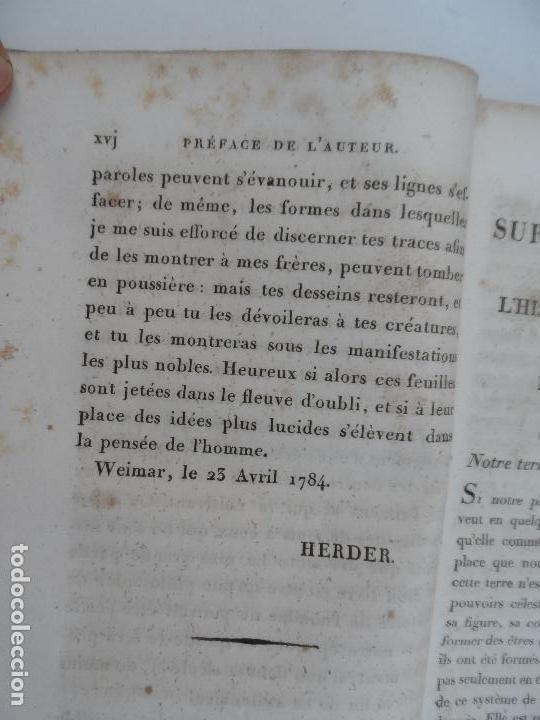 Libros antiguos: IDÉES SUR LA PHILOSOPHIE DE LHISTORIE DE LHUMANITE - PAR HERDER TOME PREMIER PARIS 1827. - Foto 4 - 129014607
