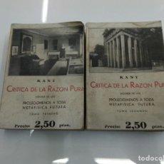 Libros antiguos: CRITICA DE LA RAZON PURA EMMANUEL KANT LIBRERIA BERGUA 1934 2 TOMOS COMPLETA . Lote 132684022