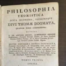 Libros antiguos: PHILOSOPHIA THOMISTICA 1791 CON TAPA DE PIEL. Lote 132975574