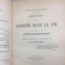 Libros antiguos: SAGESSE DANS LA VIE ARTHUR SCHOPENHAUER 1887 FRANCÉS MEDIA PIEL NERVIOS BUEN ESTADO. Lote 133329006