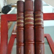 Libros antiguos: INSTITUTIONES PHILOSOPHICAE-3 TOMOS I-II-III-METAPHYSICA-ETHICA-LIBERATORE-1867. Lote 136143286