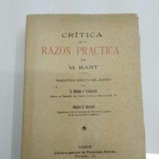 Libros antiguos: CRITICA DE LA RAZON M. KANT LIBRERIA DE VICTORIANO SUAREZ 1913 BUEN ESTADO. Lote 137119580