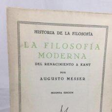 Libros antiguos: LA FILOSOFÍA MODERNA 1933 AUGUSTO MESSER DEL RENACIMIENTO A KANT BUEN ESTADO 2ª EDICIÓN INTONSO. Lote 138091110