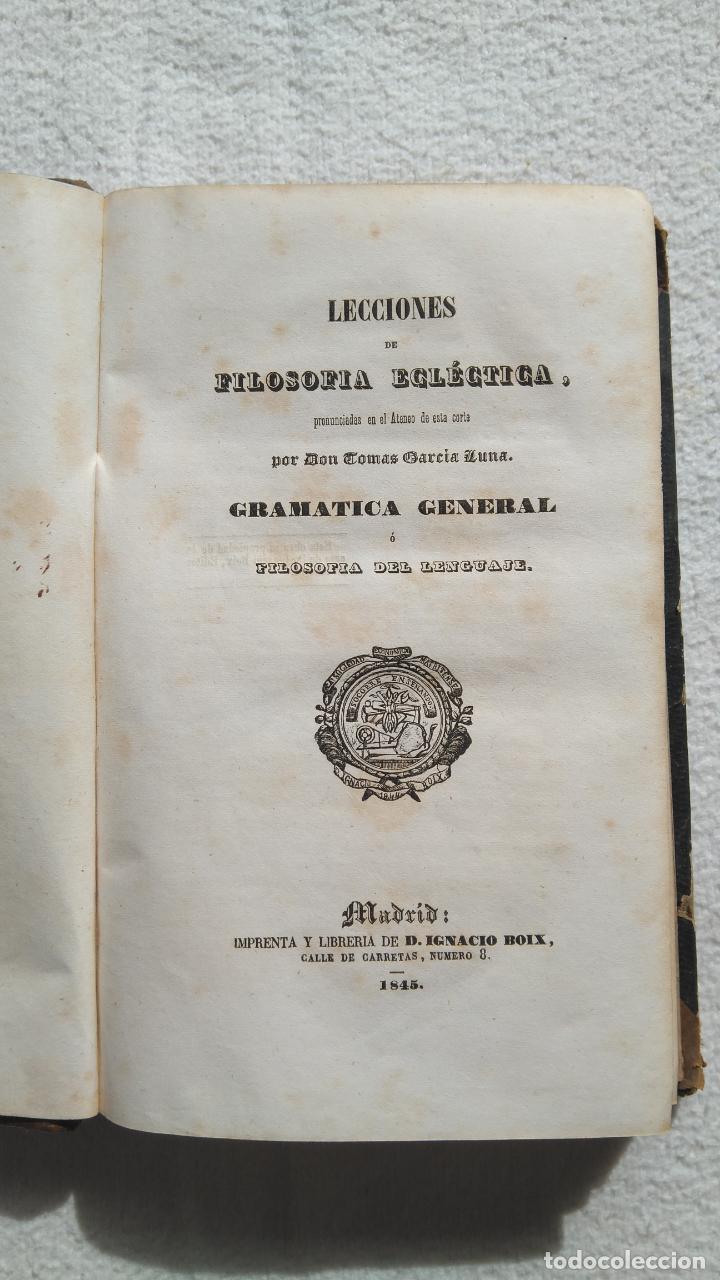 LECCIONES DE FILOSOFÍA ECLÉCTICA (Libros Antiguos, Raros y Curiosos - Pensamiento - Filosofía)