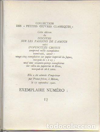 Libros antiguos: Discours sur les passions de l amour suivi d Opuscules choisis. / Pascal. Paris, 1920. Ex.12 du 25 - Foto 2 - 141030426