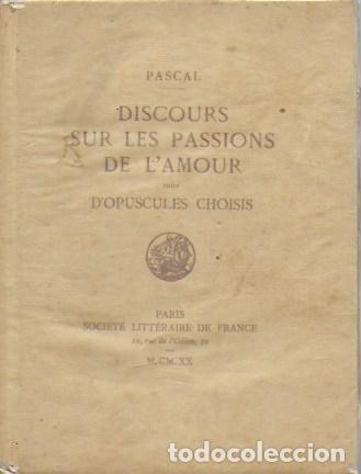 Libros antiguos: Discours sur les passions de l amour suivi d Opuscules choisis. / Pascal. Paris, 1920. Ex.12 du 25 - Foto 3 - 141030426