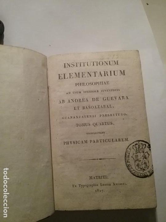 INSTITUTIONUM ELEMENTARIUN PHILOSOPHIAE (Libros Antiguos, Raros y Curiosos - Pensamiento - Filosofía)