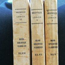 Libros antiguos: ARISTÓTELES OBRAS COMPLETAS LÓGICA, TRES TOMOS. NUEVA BIBLIOTECA FILOSÓFICA. 255+268+343.MADRID,1931. Lote 146081122