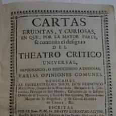 Libros antiguos: CARTAS EURIDAS Y CURIOSAS- FEIJOO- AÑO 1745. TOMO SEGUNDO (II) 16X21. ENCUADERNADO EN PERGAMINO.. Lote 147502078