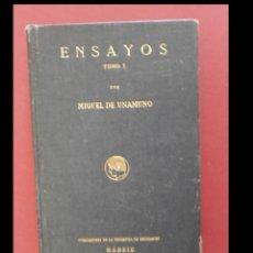 Libros antiguos: ENSAYOS. . MIGUEL DE UNAMUNO. I. Lote 149500710