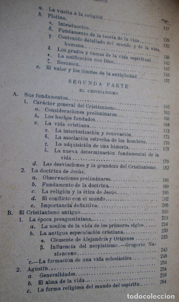 Libros antiguos: LOS GRANDES PENSADORES SU TEORÍA DE LA VIDA - Por Rodolfo Eucken 1914 - Foto 5 - 149501862