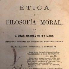 """Libros antiguos: LIBRO """"ÉTICA O FILOSOFÍA MORAL"""". Lote 151378902"""