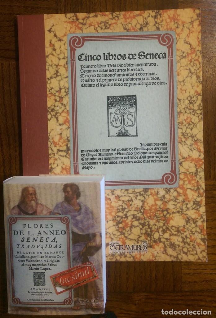 2 LIBROS FACSÍMILES RELATIVOS A SÉNECA. CINCO LIBROS (1491) Y FLORES (1555). INCUNABLE FILOSOFÍA (Libros Antiguos, Raros y Curiosos - Pensamiento - Filosofía)