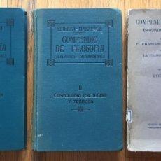 Libri antichi: COMPENDIO DE FILOSOFIA ESCOLASTICO CONTEMPORANEA FRANCISCO MARXUACH 3 TOMOS. Lote 158802166