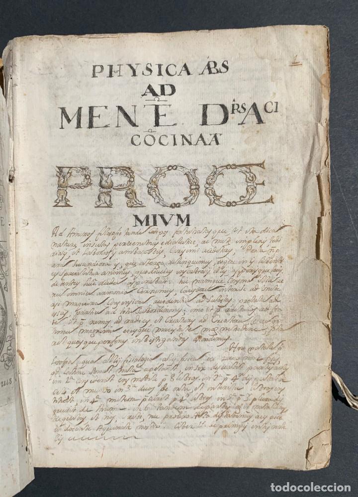 Libros antiguos: XVIII - Libro Manuscrito - 250 páginas - Physica abs ad Mente Drs Aci Cocinaa - Foto 2 - 161379922