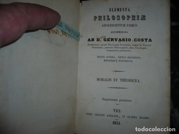 Libros antiguos: ELEMENTA PHILOSOPHIAE ADOLESCENTUM USIBUS GERVASIO COSTA 1854 VICI - Foto 2 - 161727266