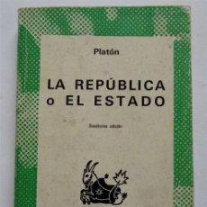 Libros antiguos: LA REPÚBLICA O EL ESTADO - PLATÓN. Lote 161999486