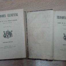 Libros antiguos: FILOSOFIA ELEMENTAL TOMO 1 Y 2 . ZEFERINO GONZALEZ AÑO 1881 . Lote 162965914