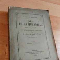 Libros antiguos: IDEAL DE LA HUMANIDAD PARA LA VIDA DE KRAUSE. Lote 164852750