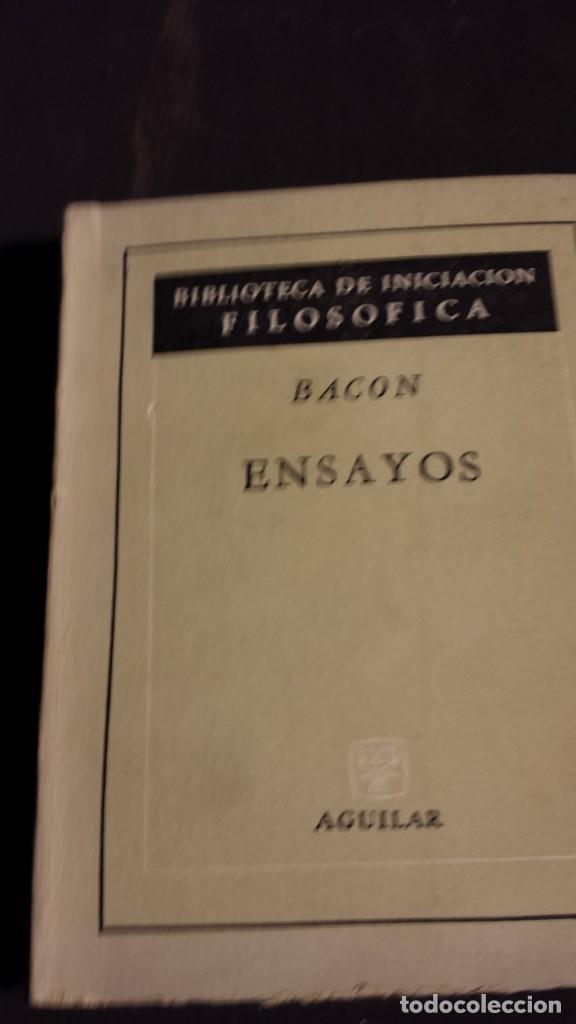BACON -ENSAYOS - BIBLIOTECA DE INICIACIÓN FILOSÓFICA - AGUILAR (Libros Antiguos, Raros y Curiosos - Pensamiento - Filosofía)
